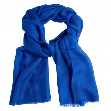 Blå pashmina sjal i 2-trädigt kypert