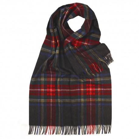 Stor scarf i koksgrå / röd / blå skotsk