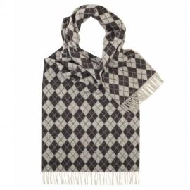 Halsduk med grått harlekinmönster