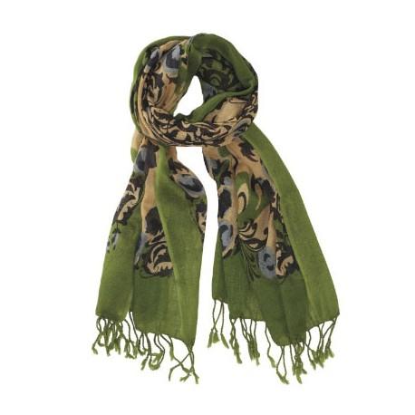 Grön mönstrad ullhalsduk