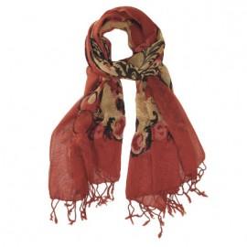 Röd mönstrad ullhalsduk