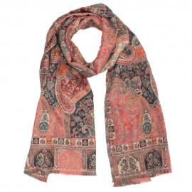 Röd halsduk i paisley mönster