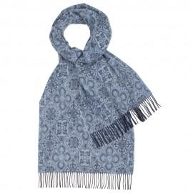 Blåmönstrad halsduk i lammull