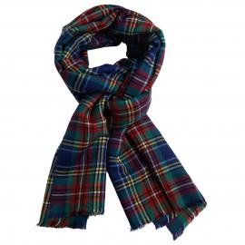 Blått skotsk sjal i kashmir och siden