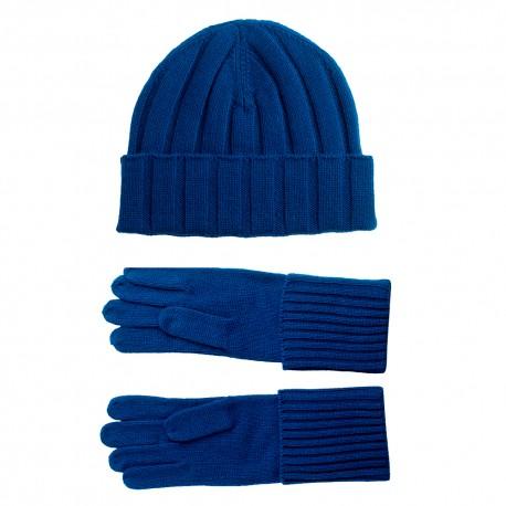 Blå kashmir beanie och handskar