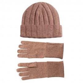 Beige kashmir beanie och handskar