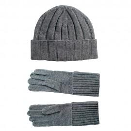 Grå kashmir beanie och handskar