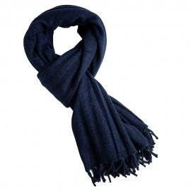 Indigofärgad ribstickad halsduk i merino / kashmir
