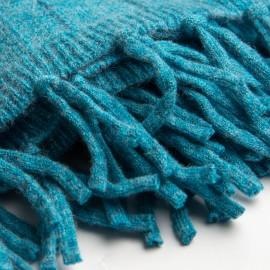 Turkos ribstickad halsduk i merino och kashmir