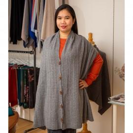 Halsduk med knappar i grå merino / kashmir