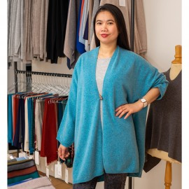 Turkos kimono i läcker merino / kashmirstick