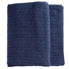 Indigo kabelstickad filt i merino och kashmir
