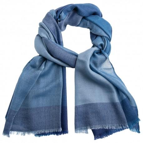 Rutig kashmir scarf i blå nyanser