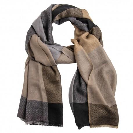 Rutig kashmir scarf i grå/svart/beige