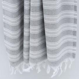 Ljusgrå/vit randig hammamhandduk