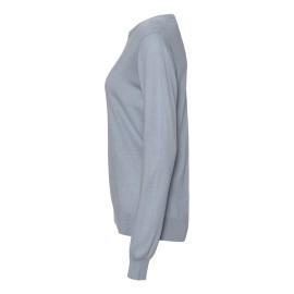 Ljusblå tröja i silke / kashmir med rund hals