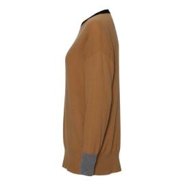 Kamelfärgad tröja med detaljer i svart, grå och orange