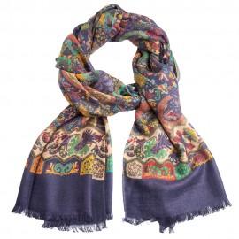 Mörkblå paisley halsduk