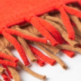 Kamel / orange-röd halsduk i merino / kashmir