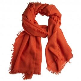 Orange sjal i handvävd kashmir