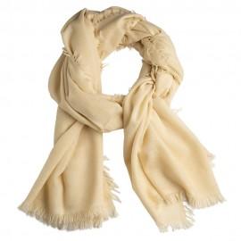 Benvit sjal i handvävd kashmir