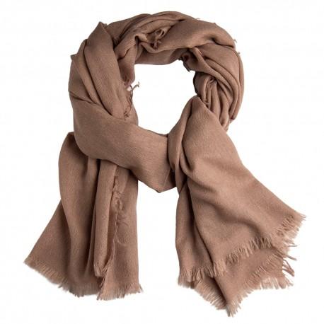 Gråbrun sjal i handvävd kashmir
