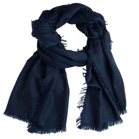 Marinblå sjal i handvävd kashmir