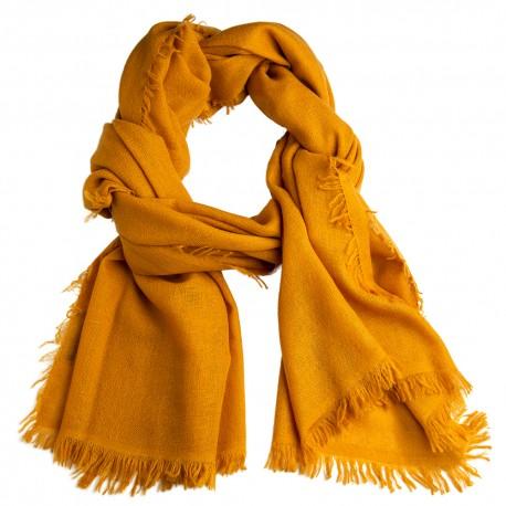 Mörk gyllene sjal i handvävd kashmir