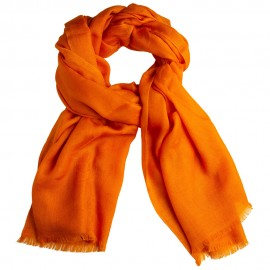 Orange jacquardvävd kashmir sjal