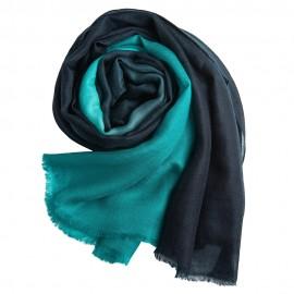 Dip-dye sjal i marinblå/turkos