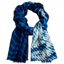 Blå/vit batikfärgad sjal