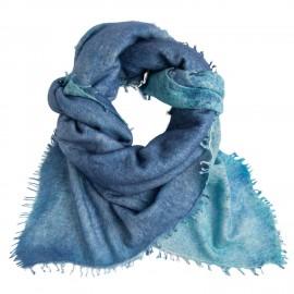Blå kvadratisk scarf med fransar