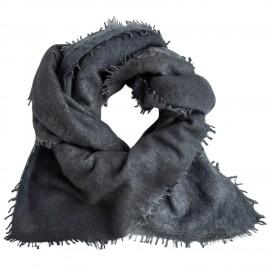 Grå kvadratisk scarf med fransar