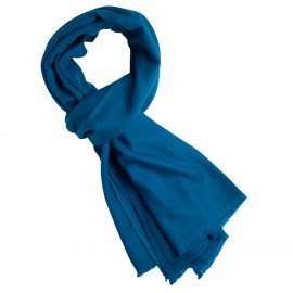Stålblå kypertvävd pashmina halsduk