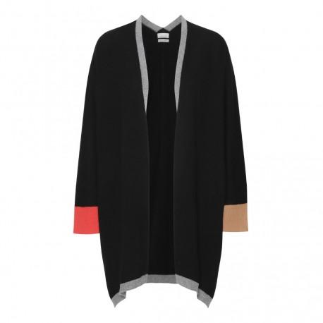 Svart kimono med detaljer i grått, orange och kamel