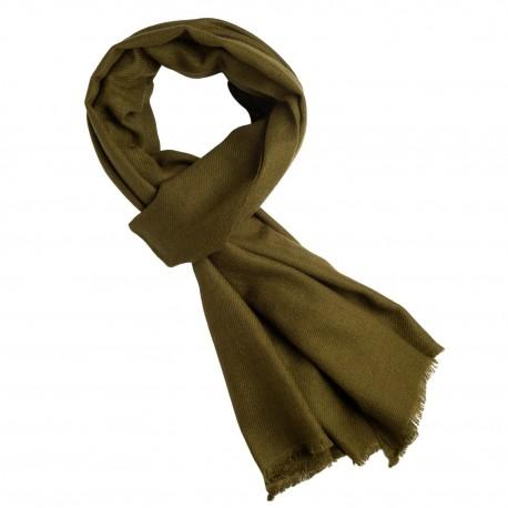 Kashmir halsduk i mörk olivgrön