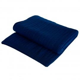 Marinblå kabelstickad cashmere filt