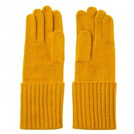 Karrygula stickade handskar i kashmir