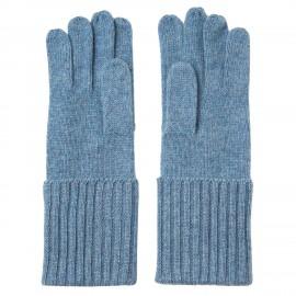 Duvblå stickade handskar i kashmir