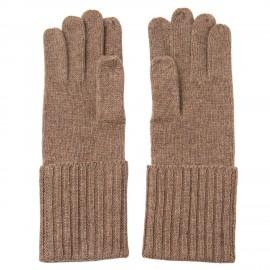 Taupegrå stickade handskar i kashmir