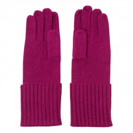 Plommonfärgade stickade handskar i kashmir