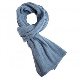 Duvblå stickad halsduk i kashmir