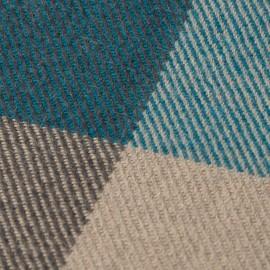 Handvävd rutig pläd i blå, beige och grå