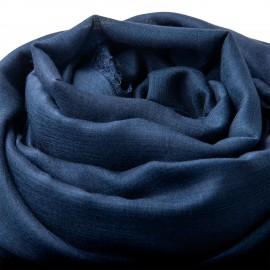 Extra stor kashmir / silkesjal i marinblå