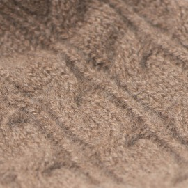 Taupegrå kashmir mössa med pälsboll