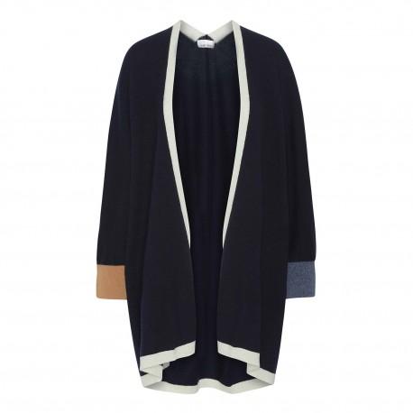 Navy kimono med detaljer i blå, grå och camel