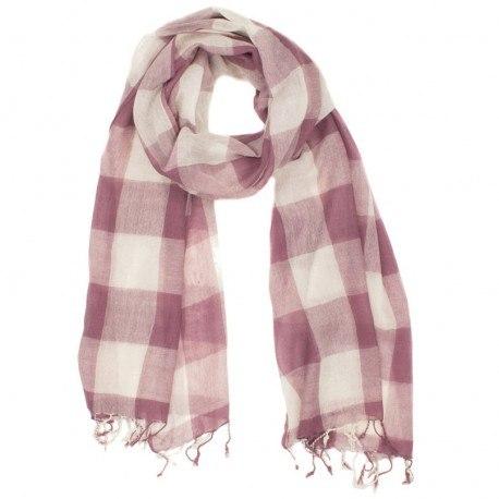 Rutig rosa och vit halsduk i ull