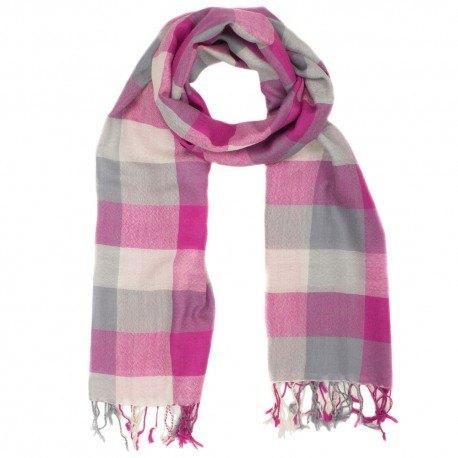 Rutig grått och rosa scarf i 100% ull