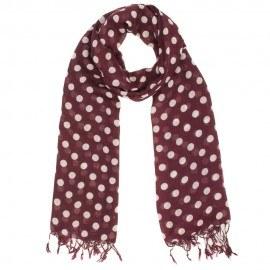 Vinröd scarf med beige prickar