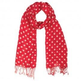 Rødt tørklæde med hvide prikker